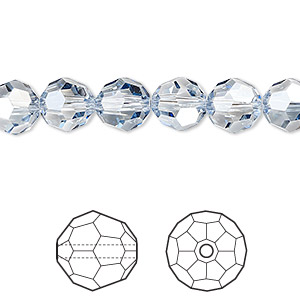 bead, swarovski crystals, crystal passions, crystal blue shade, 8mm faceted round (5000). sold per pkg of 12.