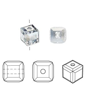 bead, swarovski crystals, crystal passions, crystal blue shade, 8x8mm faceted cube (5601). sold per pkg of 48.