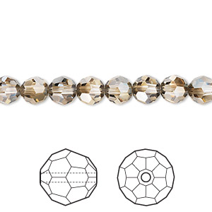 bead, swarovski crystals, crystal passions, crystal bronze shade, 6mm faceted round (5000). sold per pkg of 144 (1 gross).
