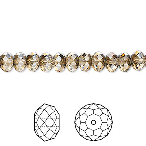 bead, swarovski crystals, crystal passions, crystal bronze shade, 6x4mm faceted rondelle (5040). sold per pkg of 12.