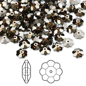 bead, swarovski crystals, crystal passions, crystal bronze shade, foil back, 6x2mm faceted marguerite lochrose flower (3700). sold per pkg of 144 (1 gross).