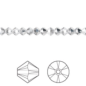 bead, swarovski crystals, crystal passions, crystal cal, 4mm xilion bicone with 0.8mm hole (5328). sold per pkg of 48.