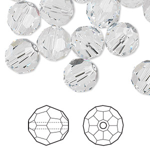 bead, swarovski crystals, crystal passions, crystal clear, 10mm faceted round (5000). sold per pkg of 24.