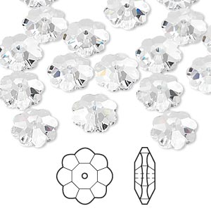 bead, swarovski crystals, crystal passions, crystal clear, 10x3.5mm faceted marguerite lochrose flower (3700). sold per pkg of 12.