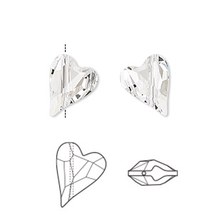 bead, swarovski crystals, crystal passions, crystal clear, 12x10mm diagonally drilled left- and right-facing faceted wild heart (5743). sold per pkg of 2.