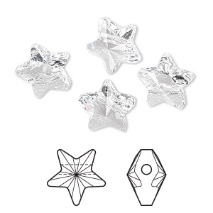 bead, swarovski crystals, crystal passions, crystal clear, 12x12mm faceted star (5714). sold per pkg of 4.