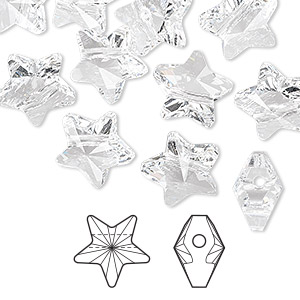 bead, swarovski crystals, crystal passions, crystal clear, 12x12mm faceted star (5714). sold per pkg of 12.