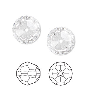 bead, swarovski crystals, crystal passions, crystal clear, 14mm faceted round (5000). sold per pkg of 2.