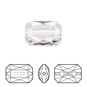 bead, swarovski crystals, crystal passions, crystal clear, 18x12.5mm faceted emerald cut (5515). sold individually.