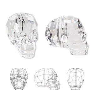 bead, swarovski crystals, crystal passions, crystal clear, 19x18x14mm faceted skull (5750). sold individually.