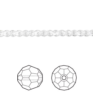 bead, swarovski crystals, crystal passions, crystal clear, 3mm faceted round (5000). sold per pkg of 12.