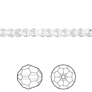 bead, swarovski crystals, crystal passions, crystal clear, 4mm faceted round (5000). sold per pkg of 12.
