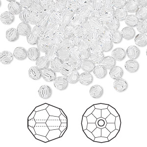 bead, swarovski crystals, crystal passions, crystal clear, 4mm faceted round (5000). sold per pkg of 720 (5 gross).