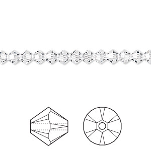 bead, swarovski crystals, crystal passions, crystal clear, 4mm xilion bicone (5328). sold per pkg of 48.