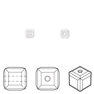 bead, swarovski crystals, crystal passions, crystal clear, 4x4mm faceted cube (5601). sold per pkg of 12.