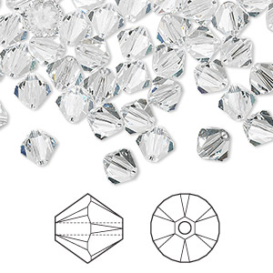 bead, swarovski crystals, crystal passions, crystal clear, 6mm xilion bicone (5328). sold per pkg of 144 (1 gross).