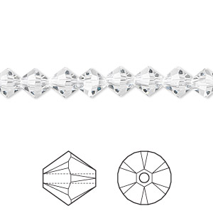 bead, swarovski crystals, crystal passions, crystal clear, 6mm xilion bicone (5328). sold per pkg of 24.