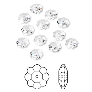bead, swarovski crystals, crystal passions, crystal clear, 6x2mm faceted marguerite lochrose flower (3700). sold per pkg of 12.