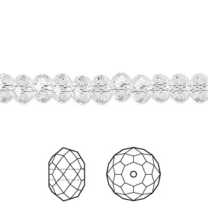 bead, swarovski crystals, crystal passions, crystal clear, 6x4mm faceted rondelle (5040). sold per pkg of 144 (1 gross).