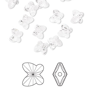 bead, swarovski crystals, crystal passions, crystal clear, 6x5mm faceted butterfly (5754). sold per pkg of 12.