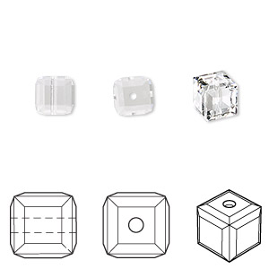 bead, swarovski crystals, crystal passions, crystal clear, 6x6mm faceted cube (5601). sold per pkg of 6.