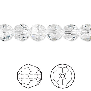 bead, swarovski crystals, crystal passions, crystal clear, 8mm faceted round (5000). sold per pkg of 12.