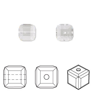 bead, swarovski crystals, crystal passions, crystal clear, 8x8mm faceted cube (5601). sold per pkg of 48.