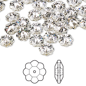 bead, swarovski crystals, crystal passions, crystal clear, foil back, 8x3mm faceted marguerite lochrose flower (3700). sold per pkg of 144 (1 gross).