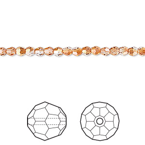 bead, swarovski crystals, crystal passions, crystal copper, 3mm faceted round (5000). sold per pkg of 12.