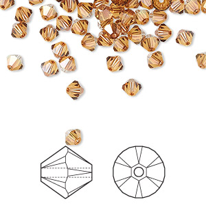 bead, swarovski crystals, crystal passions, crystal copper, 4mm xilion bicone (5328). sold per pkg of 144 (1 gross).