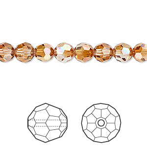 bead, swarovski crystals, crystal passions, crystal copper, 6mm faceted round (5000). sold per pkg of 12.