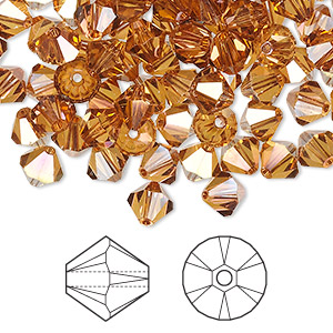 bead, swarovski crystals, crystal passions, crystal copper, 6mm xilion bicone (5328). sold per pkg of 24.