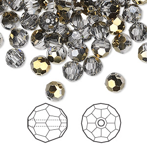 bead, swarovski crystals, crystal passions, crystal dorado, 6mm faceted round (5000). sold per pkg of 144 (1 gross).