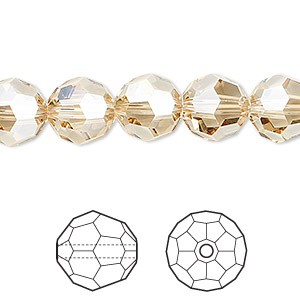 bead, swarovski crystals, crystal passions, crystal golden shadow, 10mm faceted round (5000). sold per pkg of 24.