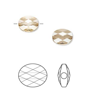 bead, swarovski crystals, crystal passions, crystal golden shadow, 10x8mm faceted mini oval (5051). sold per pkg of 2.