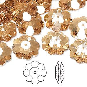 bead, swarovski crystals, crystal passions, crystal golden shadow, 14x5mm faceted marguerite lochrose flower (3700). sold per pkg of 12.