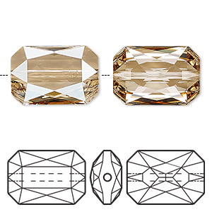 bead, swarovski crystals, crystal passions, crystal golden shadow, 18x12.5mm faceted emerald cut (5515). sold per pkg of 4.