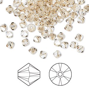 bead, swarovski crystals, crystal passions, crystal golden shadow, 4mm xilion bicone (5328). sold per pkg of 144 (1 gross).
