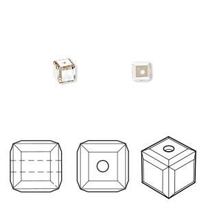 bead, swarovski crystals, crystal passions, crystal golden shadow, 4x4mm faceted cube (5601). sold per pkg of 48.