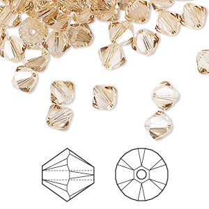 bead, swarovski crystals, crystal passions, crystal golden shadow, 6mm xilion bicone (5328). sold per pkg of 144 (1 gross).