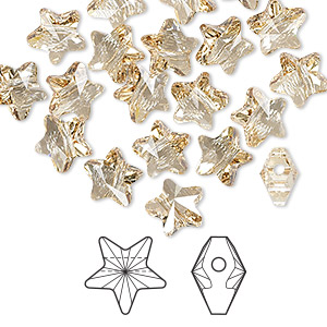 bead, swarovski crystals, crystal passions, crystal golden shadow, 8x8mm faceted star (5714). sold per pkg of 24.