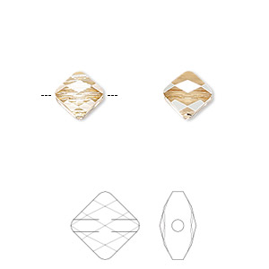 bead, swarovski crystals, crystal passions, crystal golden shadow, 8x8mm faceted mini rhombus (5054). sold per pkg of 2.