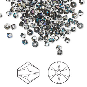 bead, swarovski crystals, crystal passions, crystal heliotrope, 3mm xilion bicone (5328). sold per pkg of 144 (1 gross).