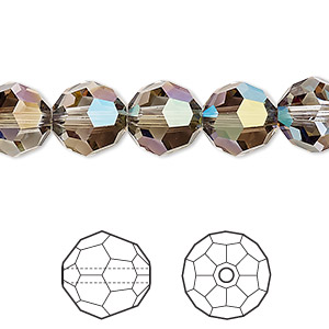 bead, swarovski crystals, crystal passions, crystal iridescent green, 10mm faceted round (5000). sold per pkg of 2.