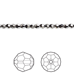 bead, swarovski crystals, crystal passions, crystal light chrome, 3mm faceted round (5000). sold per pkg of 12.