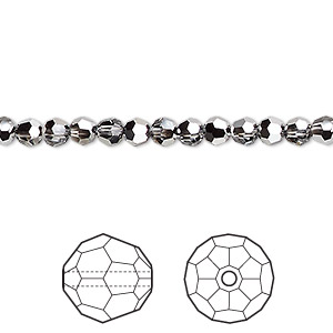 bead, swarovski crystals, crystal passions, crystal light chrome, 4mm faceted round (5000). sold per pkg of 144 (1 gross).