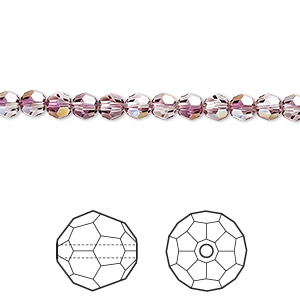 bead, swarovski crystals, crystal passions, crystal lilac shadow, 4mm faceted round (5000). sold per pkg of 12.