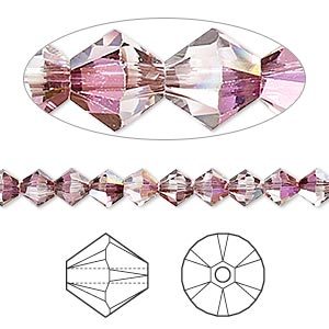 bead, swarovski crystals, crystal passions, crystal lilac shadow, 5mm xilion bicone (5328). sold per pkg of 24.