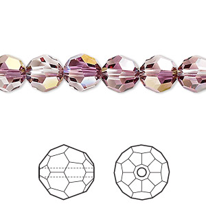 bead, swarovski crystals, crystal passions, crystal lilac shadow, 8mm faceted round (5000). sold per pkg of 144 (1 gross).