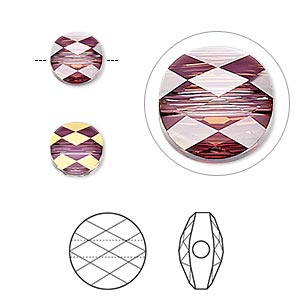 bead, swarovski crystals, crystal passions, crystal lilac shadow, 8mm faceted mini round (5052). sold per pkg of 24.